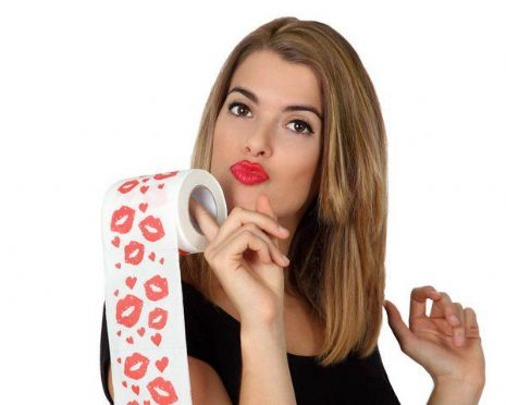 Toilet Paper Novelty Kiss Design 10x19cms Loo Roll Gift Joke Gag Trick Novelty